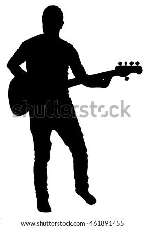 Guitarist Vector Silhouette Illustration Isolated On Stock ...