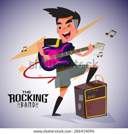 guitarist with bright emotions, playing rock electric guitar near an amp. character design. typographic rock design - vector illustration - stock vector