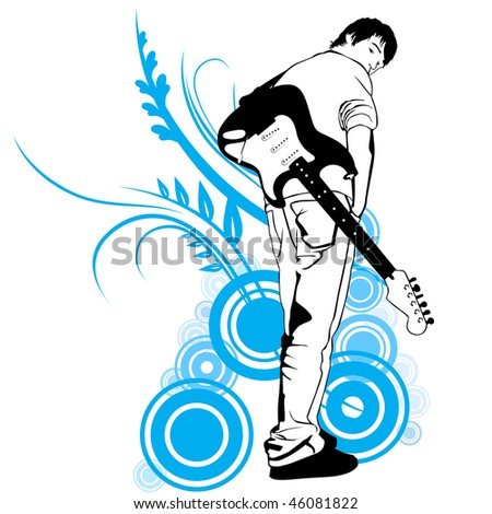 guitarist with electric guitar vector illustration - stock vector