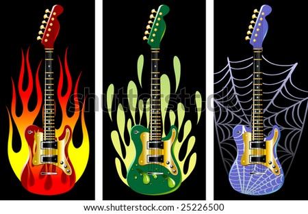 Guitars in flame. Vector illustration - stock vector