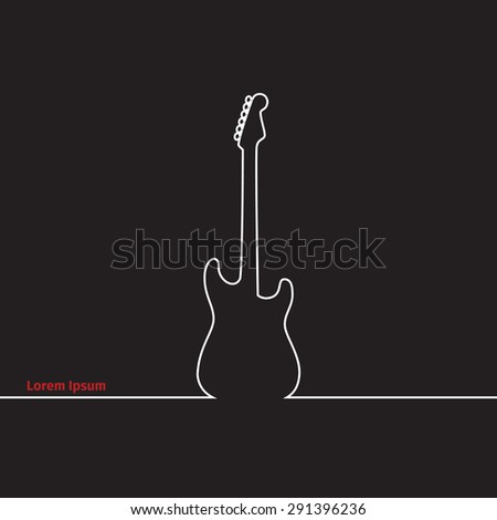 Guitars silhouette on a advertising card, vector illustration - stock vector