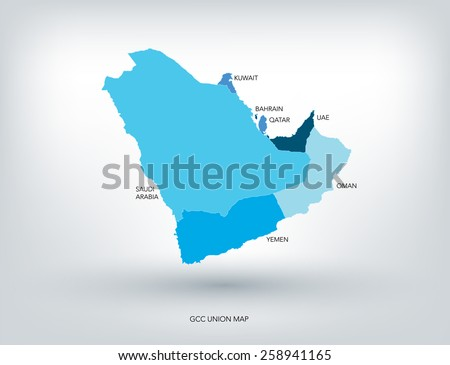 gulf countries new map vector