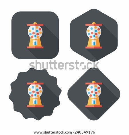 Gum ball Machine flat icon with long shadow,eps10 - stock vector