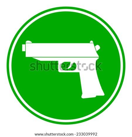 Gun button on white background. Vector illustration. - stock vector