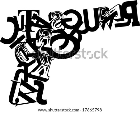 Gun composite of letters on white background - stock vector