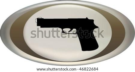 gun gn icon button - stock vector