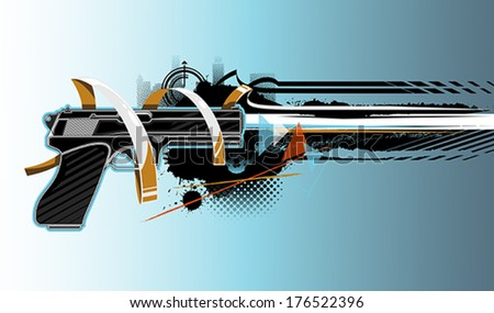 Gun graffiti - stock vector