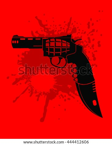 gun, grenade, knife and cutter in one set, vector - stock vector