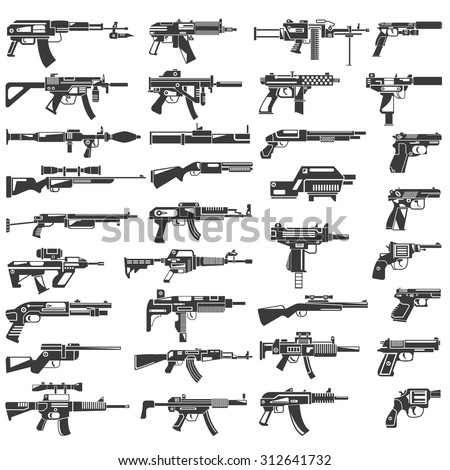 gun icons set, machine gun, rifle, weapon vector