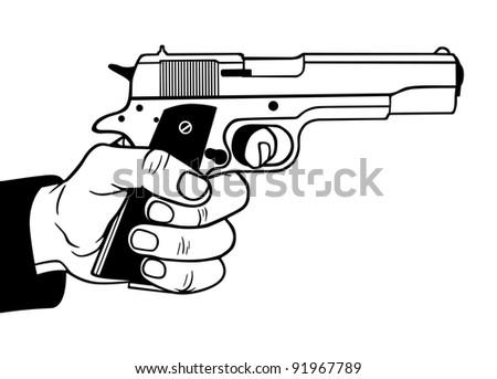 Gun in hand, vector illustration - stock vector