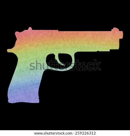 Gun isolated on white. Watercolor effect