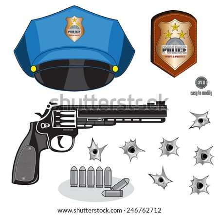 gun or pistol illustration with bullets, hat, emblem and hole, isolated - stock vector