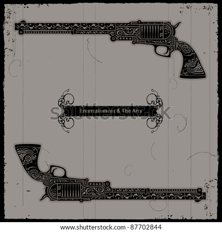 gun page two - stock vector