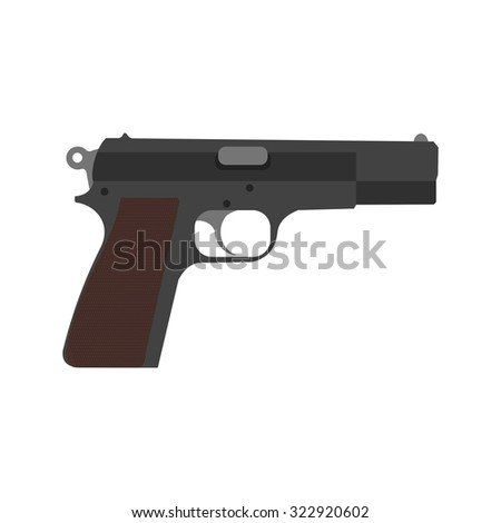 Gun, pistol, shot icon vector image. Can also be used for military. Suitable for use on web apps, mobile apps and print media.
