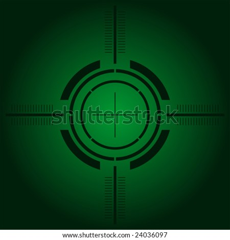 Gun sight over green simulating night vision - stock vector