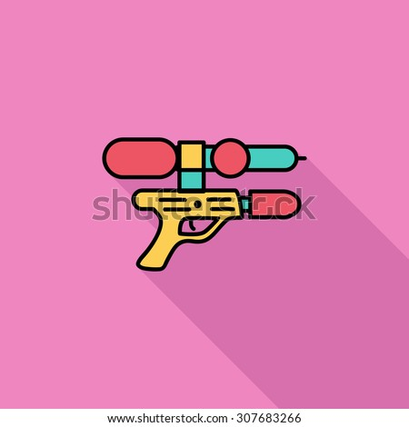 Gun toy icon. Flat vector related icon with long shadow for web and mobile applications. It can be used as - logo, pictogram, icon, infographic element. Vector Illustration. - stock vector