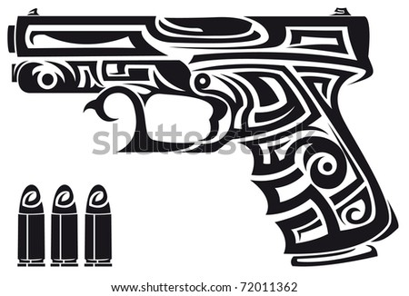 Gun Tribal - stock vector