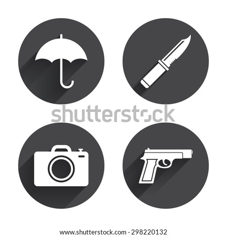 Gun weapon icon. Knife, umbrella and photo camera signs. Edged hunting equipment. Prohibition objects. Circles buttons with long flat shadow. Vector - stock vector