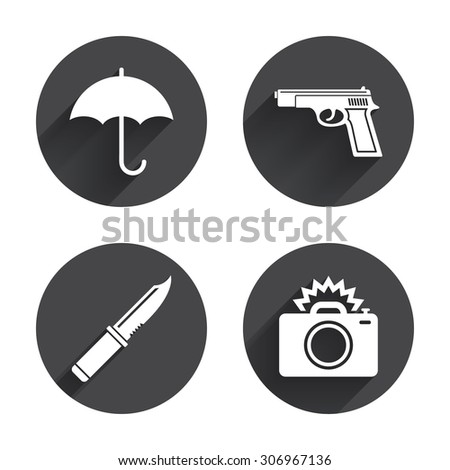 Gun weapon icon.Knife, umbrella and photo camera with flash signs. Edged hunting equipment. Prohibition objects. Circles buttons with long flat shadow. Vector - stock vector