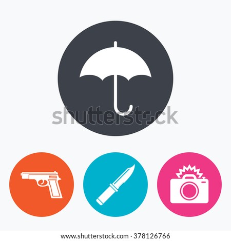 Gun weapon icon.Knife, umbrella and photo camera with flash signs. Edged hunting equipment. Prohibition objects. Circle flat buttons with icon. - stock vector
