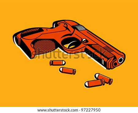 Gun with bullets in retro three color print halftone pattern - stock vector