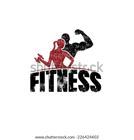 gunge man and woman of fitness silhouette character vector design template - stock vector