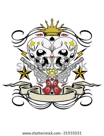 guns and skulls crest vector - stock vector