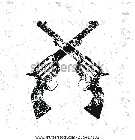 Guns design on old paper,grunge vector - stock vector