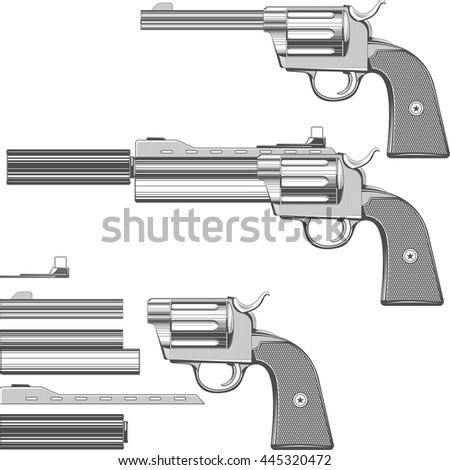 Guns set. A set of parts to build the gun illustration - stock vector