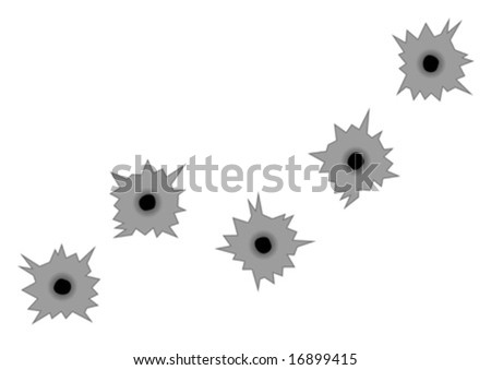 Gunshot marks over metal isolated over white background
