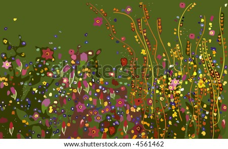 Gustav Klimt, Flowers - stock vector