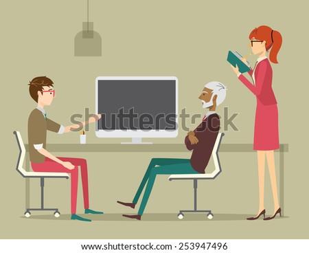 Guy giving a presentation in a creative office - stock vector