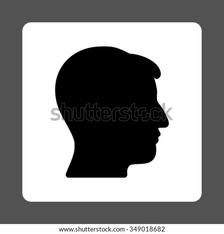 Guy Head vector icon. Style is flat rounded square button, black and white colors, gray background.