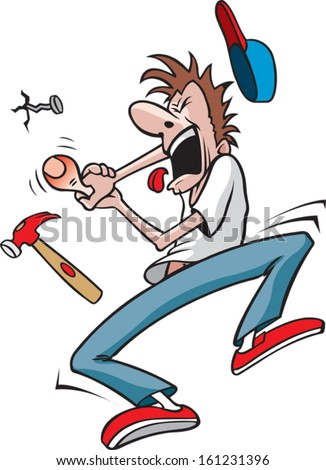 Guy hits thumb with hammer. Cartoon of a Man who has just hit his thumb with a hammer. Layered vector file. - stock vector