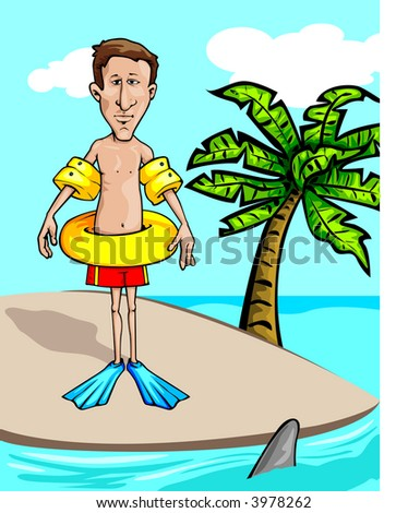 guy on deserted island surrounded by sharks - stock vector
