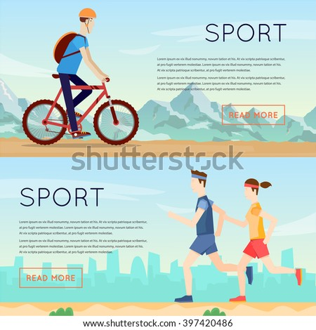 Guy rides on a mountain bike, couple of runs, sports, fitness, leisure, healthy lifestyle, mountains. Flat design vector illustrations. - stock vector