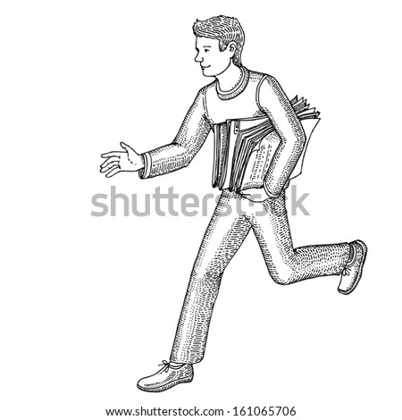 Guy runs with newspapers in his hands - stock vector