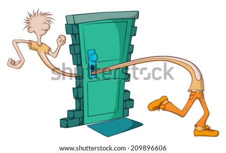 Guy walking through door keyhole cartoon, vector, horizontal,  isolated  - stock vector