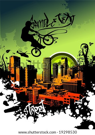 guy with bmx - stock vector