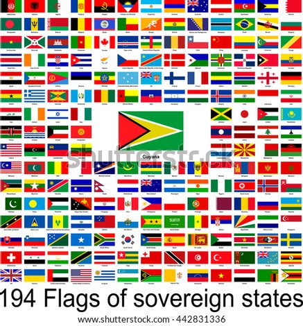 Guyana, collection of vector images of flags of the world