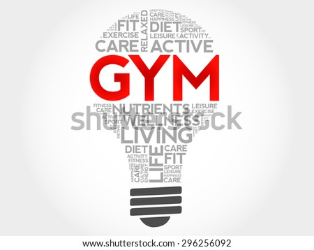 GYM bulb word cloud, health concept - stock vector