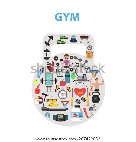 Gym concept with flat fitness icons in kettlebell shape vector illustration - stock vector