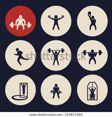 gym exercises round icons vector illustration, eps10, easy to edit - stock vector