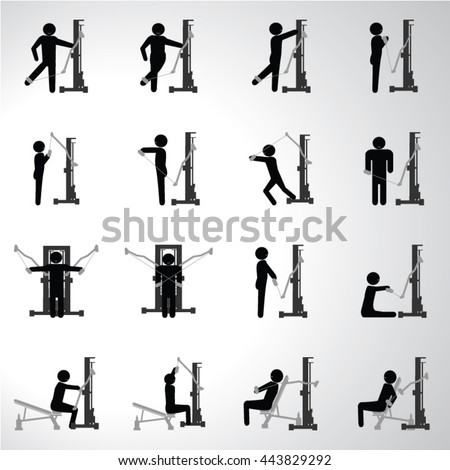 Gym fitness sport icons set illustration