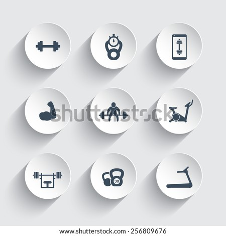 Gym, fitness, workout, training, biceps 3d round icons vector illustration, eps10, easy to edit - stock vector