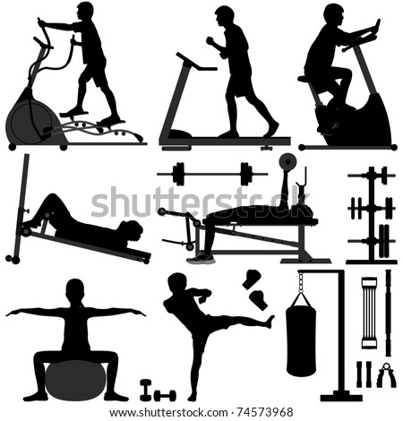 Gym Gymnasium People Sport Exercise Workout Equipment Tool Fitness Man Training - stock vector