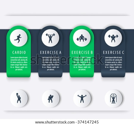 Gym Training Workout 4 Steps Infographics Elements With Fitness Exercise Icons