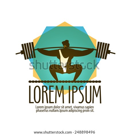 gym vector logo design template. Weight lifter or sport icon. - stock vector