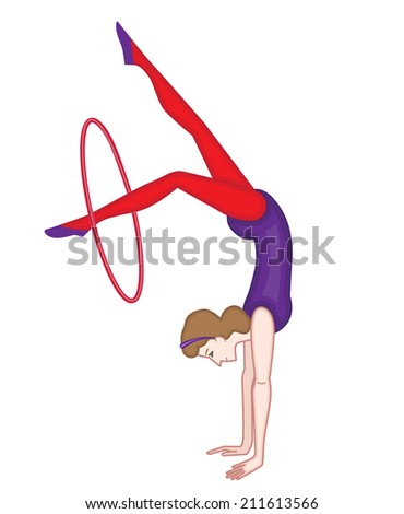 gymnast isolated on white background (vector illustration)