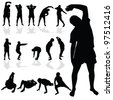 gymnastic man black silhouette art vector illustration - stock vector
